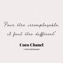CITATION 💌 - « Pour être irremplaçable, il faut être différent» Coco Chanel. Tous les mardis découvrez une citation de femme forte, une citation qui nous inspire, qui nous tire vers le haut, qui nous booste, qui nous fait sourire. - #mardicitation #welovesabrinaparis #femmeforte #cocochanel