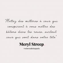 CITATION 💌 - « Mettez des œillères à ceux qui conspirent à vous mettre des bâtons dans les roues, surtout ceux qui sont dans votre tête » Meryl Streep.⠀⠀⠀⠀⠀⠀⠀⠀⠀ Tous les mardis découvrez une citation de femme forte, une citation qui nous inspire, qui nous tire vers le haut, qui nous booste, qui nous fait sourire.⠀⠀⠀⠀⠀⠀⠀⠀⠀ -⠀⠀⠀⠀⠀⠀⠀⠀⠀ #mardicitation #welovesabrinaparis #femmeforte #merylstreep